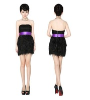 2014 Free shipping lastest sexy strapless ostrich feather silk chiffon eveing dress short cocktail dresses luxury CXWC-9218