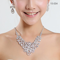 Hot Sale Womens Bridal wedding pageant wedding jewelry Rhinestone necklace earrings Jewelry sets silver Plated jewelry