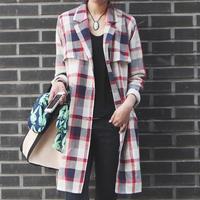 Free shipping Women's Brand Plaid Trench Coat Slim trench coat