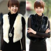 Big Size Winter Fashion Black And White Faux Fur Vest Women V neck Women Vest Winter Coat Elegant Female Ladies Waistcoat  E 77