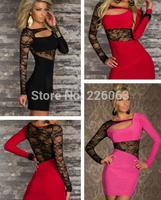 new 2014 fashion women bandage dress sexy womens cutout celebrity party club wrap bodycon mini dress lace casual