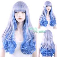 63 cm Lolita Heat Resistant Long Curly Grey Mixed Blue Fashion Hair Wig Natural Kanekalon no Lace Front hair wigs Free deliver