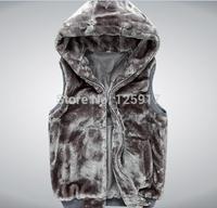 2014 Autumn Winter New Fashion Fur Vest, Men's Faux Fur Hooded Vest, Beautiful Warm Leisure Men Vest Coats P60 Size XL XXL XXXL