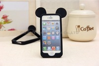 Hot 3D Mickey ears balck Fashion silicone Protect shell bumper cute lovely cartoon phonecase cover for iPhone 5 / 5S 4 / 4s