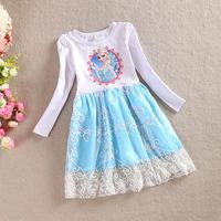 Momo - Wholesale 2014 new autumn Pink & Blue Elsa dresses, Frozen princess long sleeve Lace dresses top dresses, 5pcs/lot