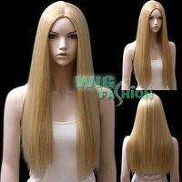 """24"""" Long Straight Mixed Blonde No Bangs Heat Ok Fashion Hair Wig Natural Kanekalon no Lace Front hair wigs Free deliver"""