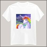 7 Colors Unicorn Printed Tshirt For Women Men Short Sleeve Unisex Cotton Casual White Shirt Top Tee XXXL Big Size ZY055-10