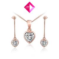 2014 new fashion rose gold heart-shaped Kit,jewelry set,gemstone jewelry