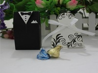 Hot Sale Bride and Groom Box !! Free Shipping 100pcs Bride and Groom Wedding Favor Boxes Gift box Candy box black&white
