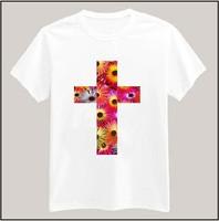 Flower Floral Cross Printed Tshirt For Women Men Short Sleeve Unisex Cotton Casual White Shirt Top Tee XXXL Big Size ZY055-12