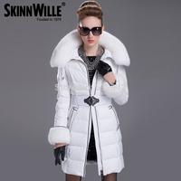 Women Brand Luxury Large Rex Rabbit Fur Collar Winter Long Down Jacket Slim Warm Waterproof parka&Outerwear