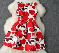 New arrival 2014 women's red rose print one-piece dress sleeveless tank dress