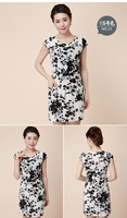 2014 quinquagenarian women's one-piece dress summer elegant mother clothing o-neck short-sleeve floral print