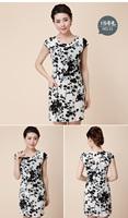 2014 quinquagenarian women's one-piece dress summer elegant mother clothing o-neck short-sleeve floral print skirt