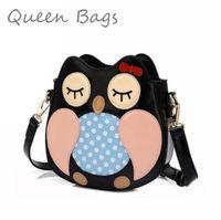 2014 New Style Women fashion crtoon Owl Handbag PU leather messenger bag classical Brand Shoulder bag S4221