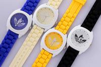 2014 AD Brand 3 Leaf Grass Sport Men Women Quartz Watch,Army Sport Style Silicone Bracelet Wristwatch Relogio Free ship
