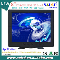 factory price !   8  inch touch sxreen monitor with HDMI/VGA/USB Touch, birghtness of 400cd/m2