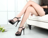 Big size:40-46 wholesale summer Brand 16cm ultra high thin heels sexy women's platform wedding shoes red bottom T-strap pumps