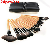 TOP Quality! Professional 24PCS Makeup Brush Set Make-up Toiletry Kit Wool Brand Make Up Brush Set Case Tools Free Shipping
