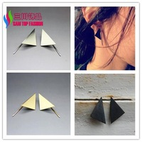 2014 christmas gift fashion hot punk gold silver black copper metal triangle piercing earrings for women bijoux wholesale