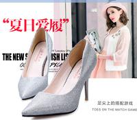 Sexy pointed toe fashion high-heeled shoes silver purple thin single  blackfemale shoes