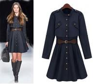 Plus Size Women's Coat Outwears 2014Autumn Winter New Fashion Women's Slim Single-breasted Trench Coat long Outwear Freeshipping