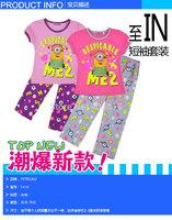 2014 2T-10T girls despicable me 2 short sleeved sleeve pajamas pyjamas + long pants sleepwear A001