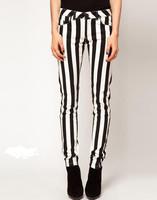 2014 European black and white vertical stripes Eastic cotton ladies denim trousers women Straight Skinny jeans Pencil pants