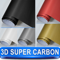 High Quality New Arrival Super 3D Carbon Fiber Black Vinyl Film with Skin Texture Air Drains