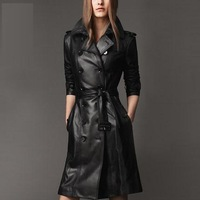 2014 female slim medium-long double breasted leather trench female slim plus size leather clothing outerwear