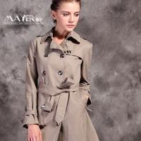 Fashion autumn 2014 lacing slim waist ol rain gear medium-long 100% cotton trench outerwear