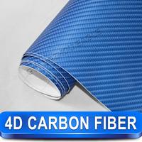 Free Shipping 1.52*30m Car Vinyl WrapTexured Removable PVC Blue 4D Carbon Fiber Vinyl With Air Free Bubbles
