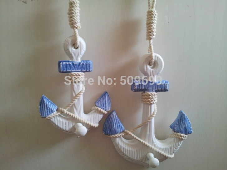 Mediterranean decor anchor retro style wooden towel hooks wall decoration hanger- free shipping(China (Mainland))