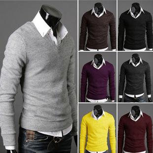 2014 New Men's Brand V neck Long Sleeve Cashmere polo sweaters Knitwear fashion designer cardigan men(China (Mainland))