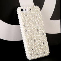 3D Rhinestone case for Apple iphone 5 5S 4 4S diamond back cover luxury bling pearl phone case