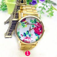 women casual watch rose flower steel strap watch 1pcs free shipping