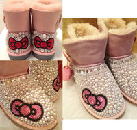 free shipping rhinestone sheepskin wool boot  tassel Fashion pearl snow boots luxury Diamond gem women Sexy warm Winter shoes