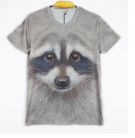 811stereoscopic 3D creative animal heads printing personality  t-shirt vest