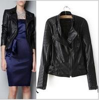 [B-1402] Free shipping 2014 Winter hot new Women PU leather jacket European style Slim leather motorcycle