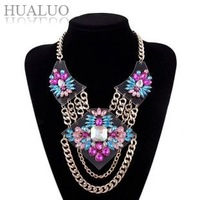 New Arrival Brand New Design Vintage Luxury Gold Chain Colorized Rhinestone Flowers Statement Choker Necklace   #N1705-N1706