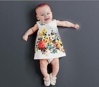 2014 new autumn and winter children clothing girls dress sleeveless vest dress floral Brand 2-8T high quality designer baby