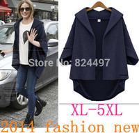 2014 NEw big yards dress coat  Fashion women's clothing loose bat sleeve cardigan coat  Wool woolen cloth coat