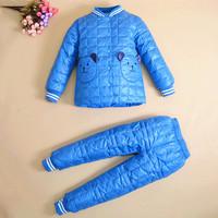 New 2014 brand clothing set girl clothes kids child boys children's suits autumn winter Down jacket + pants Fashion set /5 color