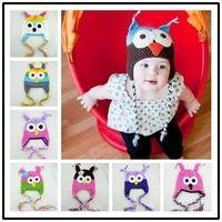 Wholesale - Baby Handmade crochet Hat childrens handmade owl beanie Knitted hat New Toddler Owl EarFlap Crochet Hat cap