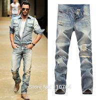 2014 G Men Fashion Brand Slim Straight Ripped Jeans Hole Vintage Light Blue Denim Long Pants European and American style