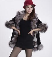 2014 new women's silver fox fur coat jacket  Angora fur fox fur rabbit long coat plus size