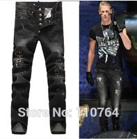 2014 PP Men Fashion Brand Jeans Rivet Slim Black Ripped Jeans European and American style Hole Patch Vintage Denim Long Jeans