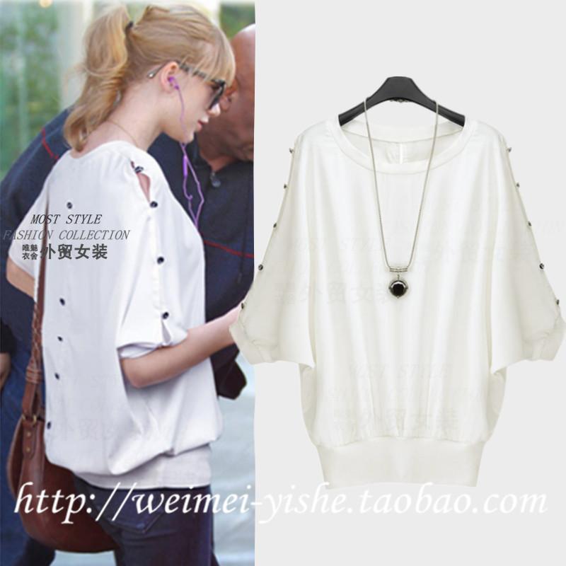 Half female 2014 loose short-sleeve shirt sexy girls fashion female summer bat clothing(China (Mainland))