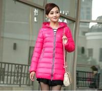 Free Shipping 2014New Women's Winter Coat Wenai The Long Section Thick Coat Shiny Padded down cotton-padded jacket female