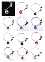 12pcs/lot Mix Colors Birthstone Crystal Pendant of 12 Months Birthstone Alex and Ani Charm Wiring Bracelet expandable bangles